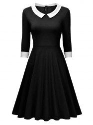 Retro Women Long Sleeve Dress - BLACK L