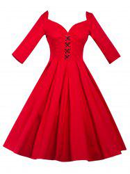 Lace-Up Bowknot Vintage Swing Dress
