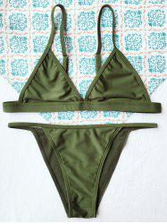 Simple Teeny String Bikini Swimwear - ARMY GREEN