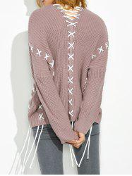 Drop Shoulder Lace Up Sweater