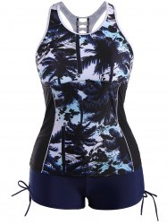 Plus Size Hawaiian Print Moulded Racerback Tankini Bathing Suit - DEEP BLUE