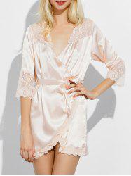 Scalloped Lace Insert Wrap Sleep Robe
