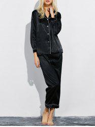 Lapel Silk Nightwear Capri Pajamas Set -