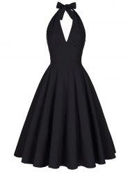 Halter Low Back Plunge Work Christmas Party Dress - BLACK 2XL