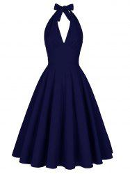 Halter Low Back Plunge Work Christmas Party Dress - PURPLISH BLUE S
