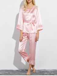 Lace Panel Satin Nightwear Capri Pajamas - LIGHT PINK