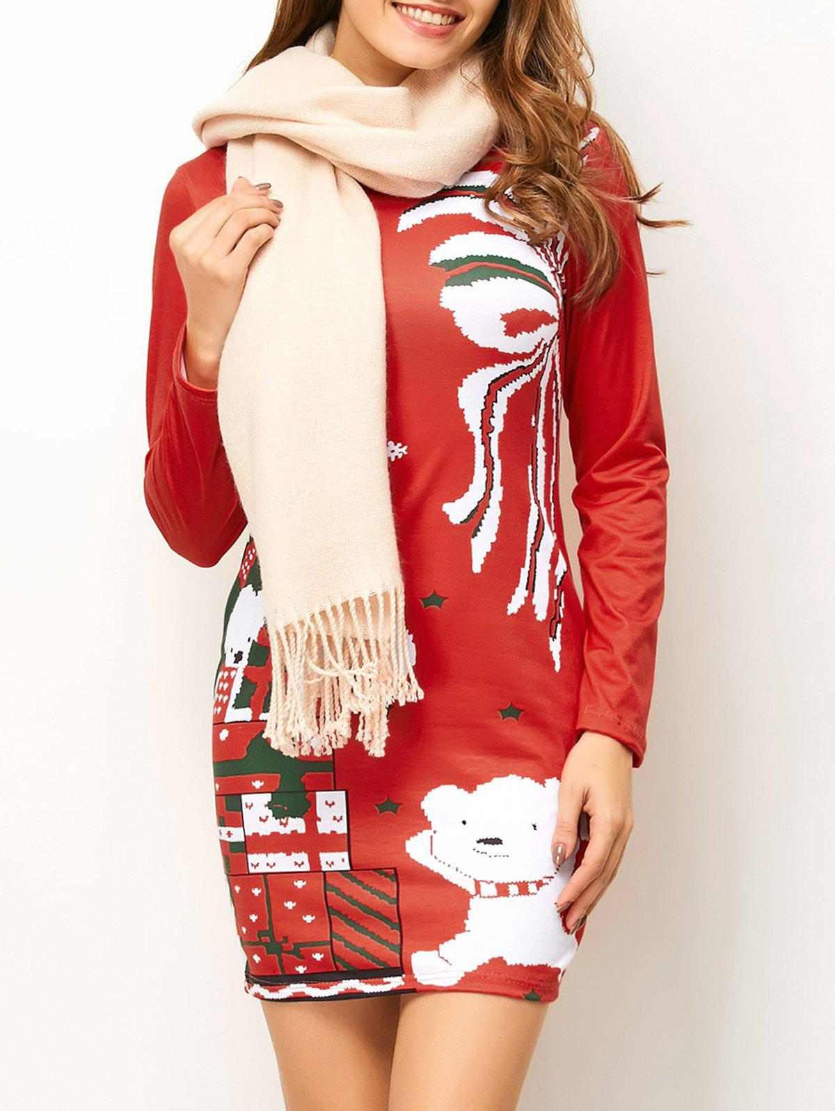 Christmas Tree Pattern Mini Long Sleeve DressWOMEN<br><br>Size: L; Color: RED; Style: Brief; Material: Cotton,Polyester; Silhouette: Sheath; Dresses Length: Mini; Neckline: Round Collar; Sleeve Length: Long Sleeves; Pattern Type: Print; With Belt: No; Season: Fall,Winter; Weight: 0.490kg; Package Contents: 1 x Dress;