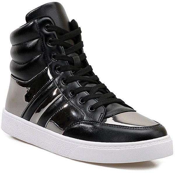 Buy Lace Up Patent Leather Insert Boots