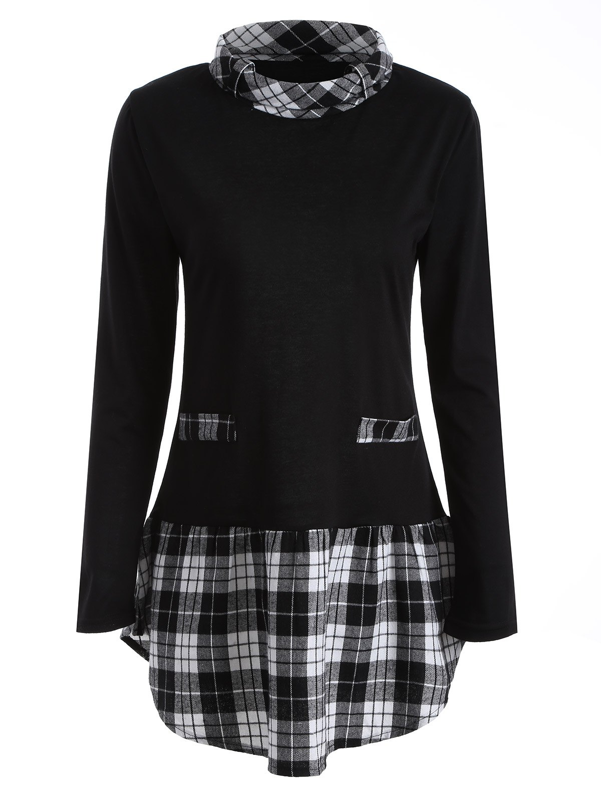 Turtle Neck Plaid Insert TeeWOMEN<br><br>Size: XL; Color: BLACK; Material: Polyester; Sleeve Length: Full; Collar: Turtleneck; Style: Fashion; Pattern Type: Plaid; Season: Fall,Spring; Weight: 0.430kg; Package Contents: 1 x Tee;