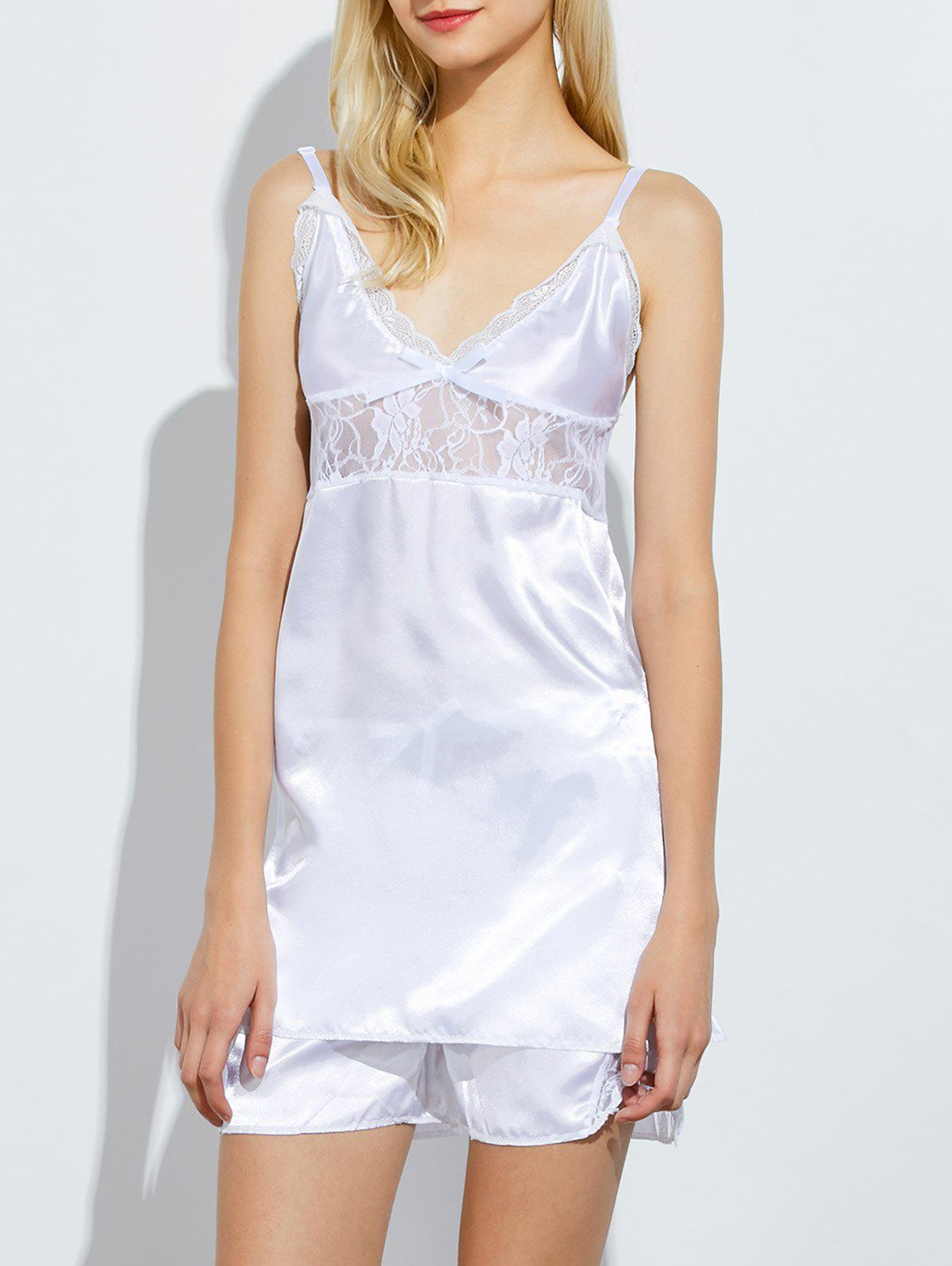 Shop Lace Panel Satin Cami Summer Pajamas Set