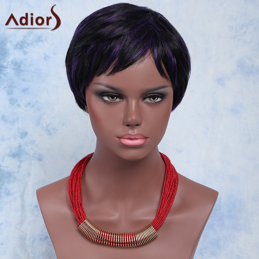 Unique Mixed Color Fashion Short Shaggy Full Bang Adiors Synthetic Hair Wig For Women
