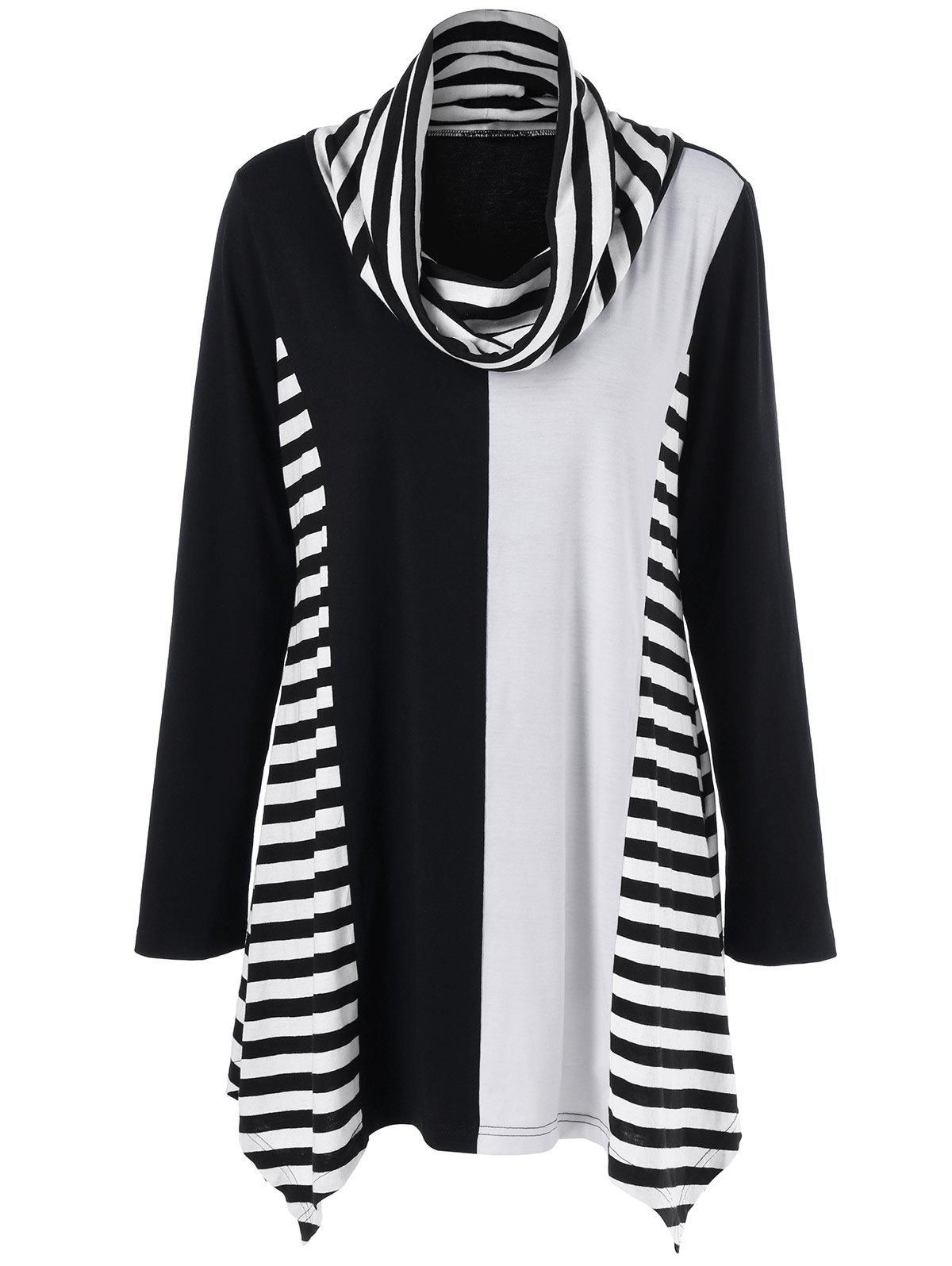 Cowl Neck Striped Trim Asymmetrical T-ShirtWOMEN<br><br>Size: 5XL; Color: BLACK AND GREY; Material: Polyester; Shirt Length: Long; Sleeve Length: Full; Collar: Cowl Neck; Style: Casual; Season: Fall,Spring; Pattern Type: Striped; Weight: 0.370kg; Package Contents: 1 x T-Shirt;