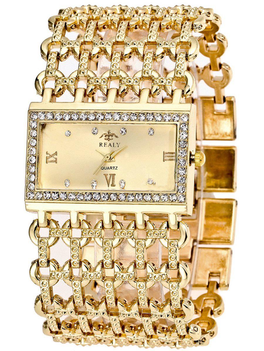 Rhinestone Roman Numerals Geometric Bracelet WatchJEWELRY<br><br>Color: GOLDEN; Gender: For Women; Style: Fashion; Type: Quartz watch; Case material: Alloy; Band material: Stainless Steel; Movement: Quartz; Dial Shape: Rectangle; Water-Proof: No; Case Thickness(MM): 8MM; Band Length(CM): 20CM; Band Width(CM): 3.8CM; Package Contents: 1 x Watch;