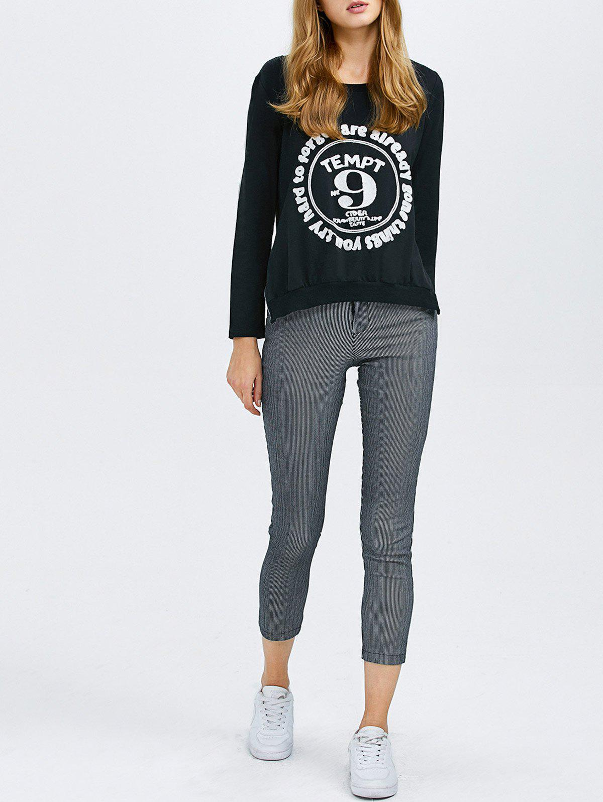 Fancy Long Sleeve Graphic Tee With Stripe Pants
