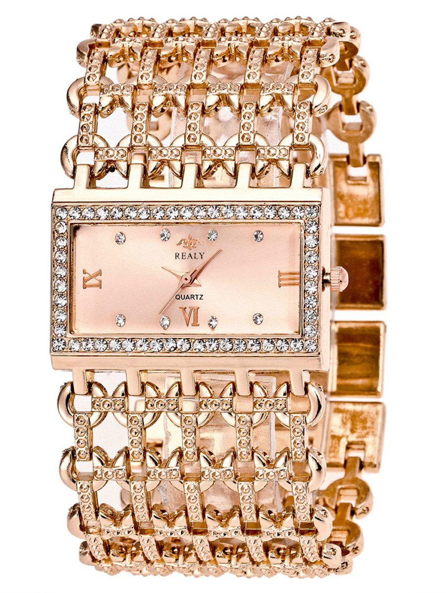 Rhinestone Roman Numerals Geometric Bracelet WatchJEWELRY<br><br>Color: ROSE GOLD; Gender: For Women; Style: Fashion; Type: Quartz watch; Case material: Alloy; Band material: Stainless Steel; Movement: Quartz; Dial Shape: Rectangle; Water-Proof: No; Case Thickness(MM): 8MM; Band Length(CM): 20CM; Band Width(CM): 3.8CM; Package Contents: 1 x Watch;