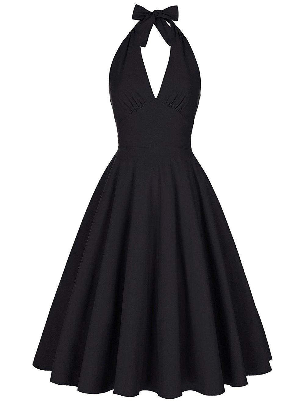 Halter Low Back Plunge Work Christmas Party DressWOMEN<br><br>Size: M; Color: BLACK; Style: Vintage; Material: Cotton,Cotton Blend,Polyester; Silhouette: Ball Gown; Dresses Length: Knee-Length; Neckline: Halter; Sleeve Length: Sleeveless; Embellishment: Backless; Pattern Type: Solid; With Belt: No; Season: Fall,Spring,Summer; Weight: 0.4150kg; Package Contents: 1 x Dress;