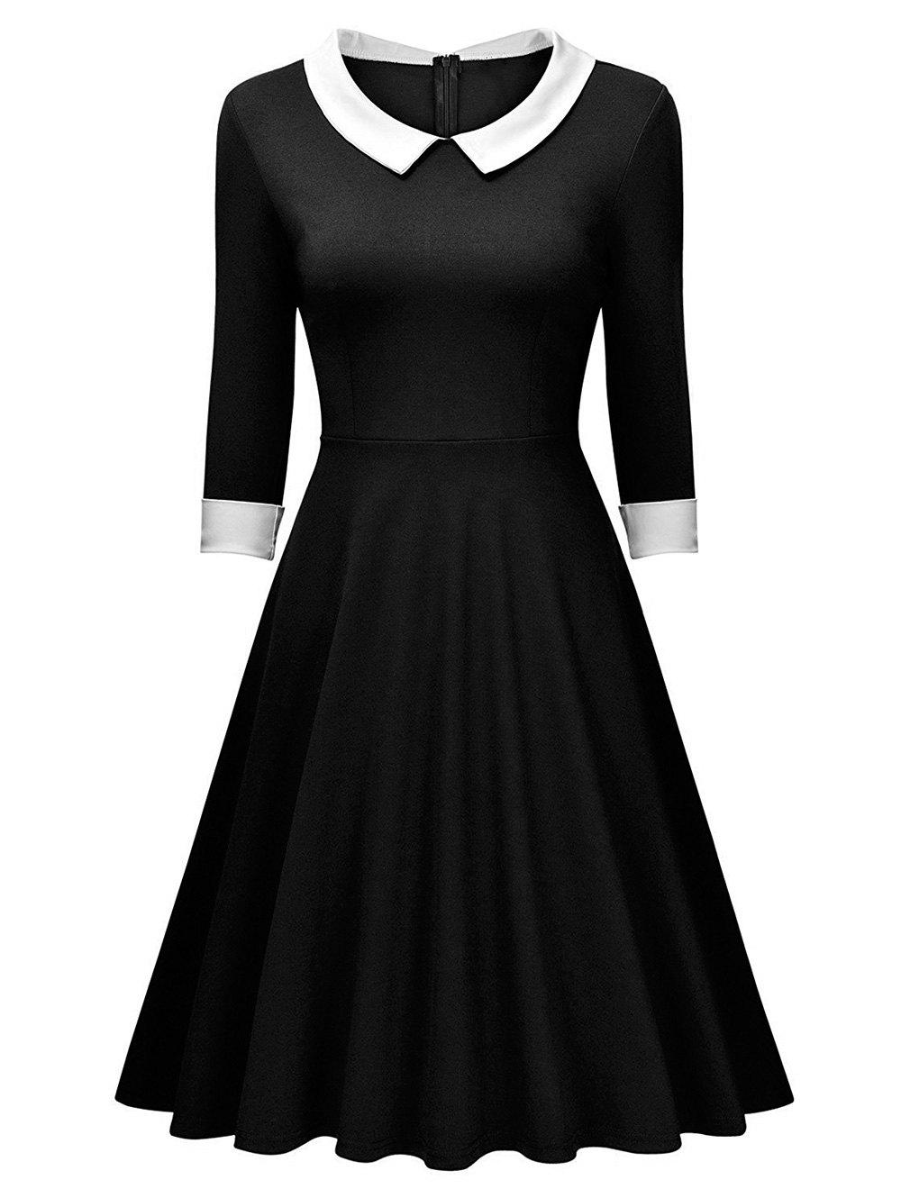 Retro Women Swing Long Sleeve DressWOMEN<br><br>Size: M; Color: BLACK; Style: Cute; Material: Cotton,Cotton Blend,Polyester; Silhouette: Ball Gown; Dresses Length: Knee-Length; Neckline: Flat Collar; Sleeve Length: 3/4 Length Sleeves; Pattern Type: Patchwork; With Belt: No; Season: Fall,Winter; Weight: 0.468kg; Package Contents: 1 x Dress;