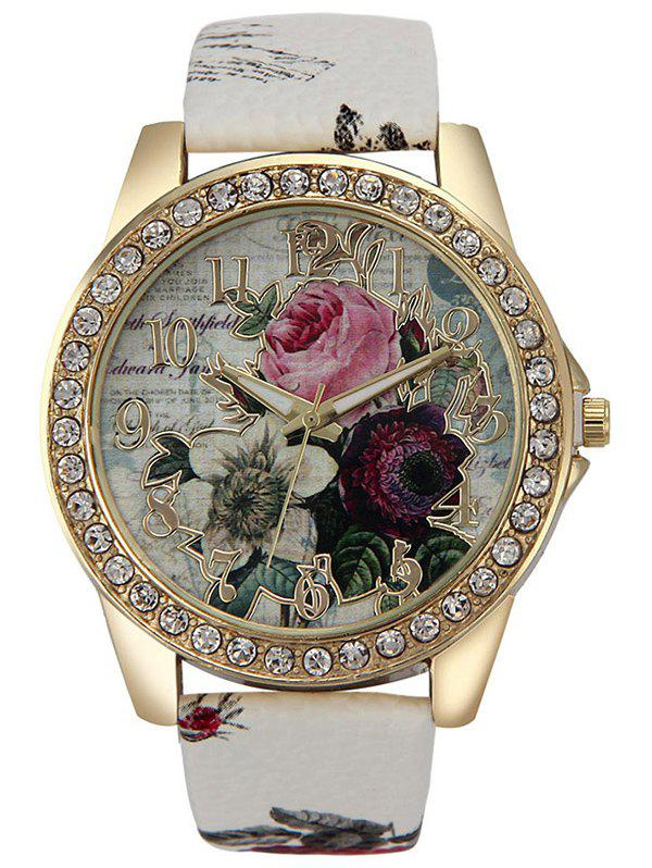 Rhinestone Faux Leather Rose Quartz WatchJEWELRY<br><br>Color: WHITE; Gender: For Women; Style: Fashion; Type: Quartz watch; Feature: Others; Case material: Alloy; Band material: PU Leather; Movement: Quartz; Dial Shape: Round; Water-Proof: No; Case Thickness(MM): 0.8cm; Band Length(CM): 24cm; Band Width(CM): 1.9cm; Package Contents: 1 x Watch;