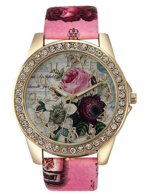 Buy Rhinestone Faux Leather Rose Quartz Watch