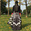 Feather Printed Butterfly Chiffon Wing Cape - BLACK