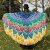 Multicolor Feather Printed Chiffon Peacock Tail Cape - COLORMIX