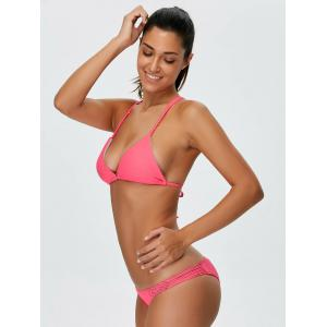 Backless Braided String Plain Bikini - ROSE RED S