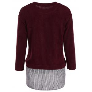 Plus Size Panel Layered Knit Sweater - WINE RED 5XL