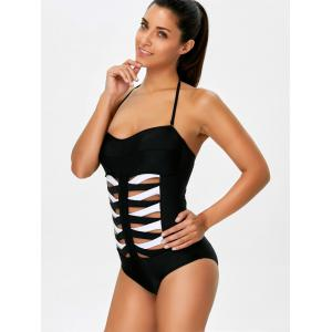 Cut Out One Piece Striped Halter Swimsuit -