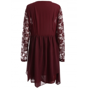 Plus Size Long Sleeve Lace Insert Shift Dress - RED 6XL