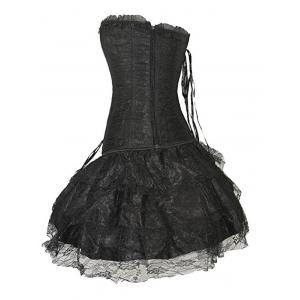 Flounced Lace Up Training Corset Top and Layered Skirt -