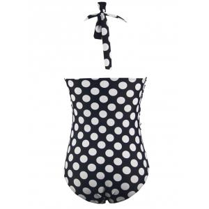 Polka Dot Push Up Pin Up One Piece Halter Bathing Suit - WHITE AND BLACK 2XL