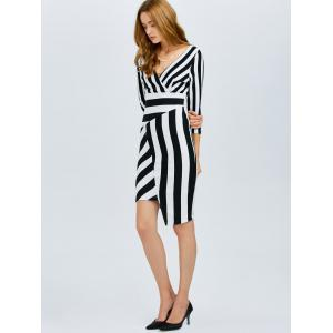 Striped Asymmetrical Fitted Dress -