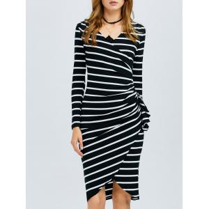 Striped Long Sleeve Knee Length Tight Dress