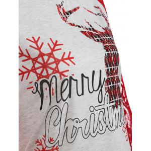 Lace Insert Christmas Deer Snowflake Tee - LIGHT GRAY XL