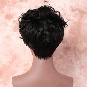 Shaggy Short Pixie Cut Curly Side Bang Synthetic Wig - BLACK