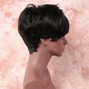 Handsome Short Fluffy Side Bang Straight Heat Resistant Fiber Wig -
