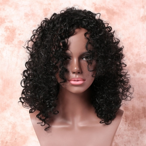 Medium Fashionable Side Bang Black Afro Curly Women's Synthetic Hair Wig -