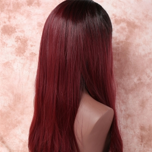 Side Silky Straight Attractive Parting Nobby Long Black Wine Mixed Red synthétique Adiors perruque pour les femmes -