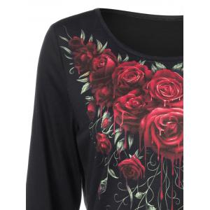 3d Rose Paint Drip Tee - BLACK M