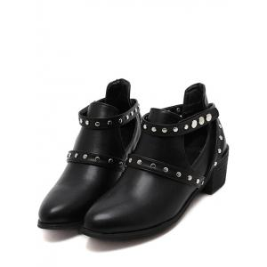 Studded Cross Strap Cut Out Ankle Boots -