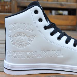 High Top PU Leather Casual Shoes - WHITE AND BLACK 41
