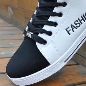 High Top PU Leather Casual Shoes - WHITE/BLACK 41