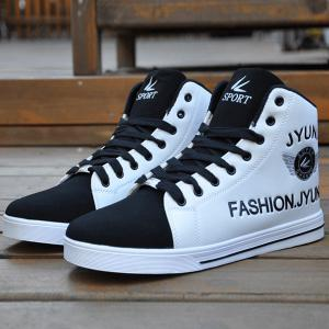 High Top PU Leather Casual Shoes - White And Black - 40