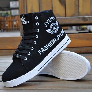 High Top PU Leather Casual Shoes - BLACK 41
