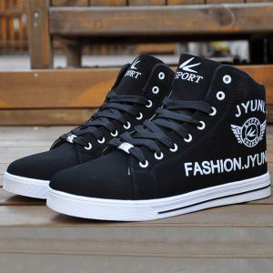 High Top PU Leather Casual Shoes - Black - 40