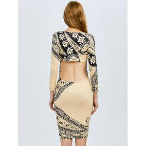 Print Cut Out Bodycon Dress - PALOMINO 2XL