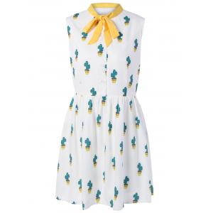 Self Tie Cactus Print Buttoned Dress