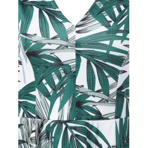 Sleeveless Leaf Print Fit and Flare Dress -