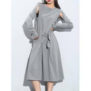 Cut Out Long Sleeve Knee Length Dress -