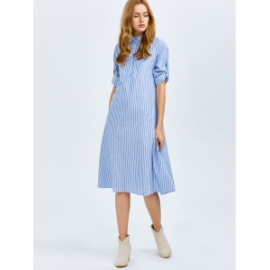 Midi A Line Stripe Casual Dress -